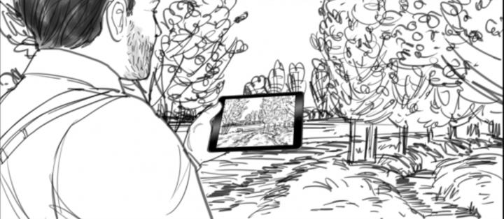 Tekening van wandelaar met tablet in landschap